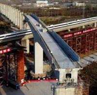 Bridge for Chinese high-speed railway rotated into place image