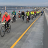 Cyclists and walkers are first to enjoy world's longest floating bridge image