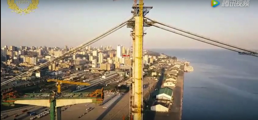 Fly over the construction site of Africa's longest suspension bridge  image