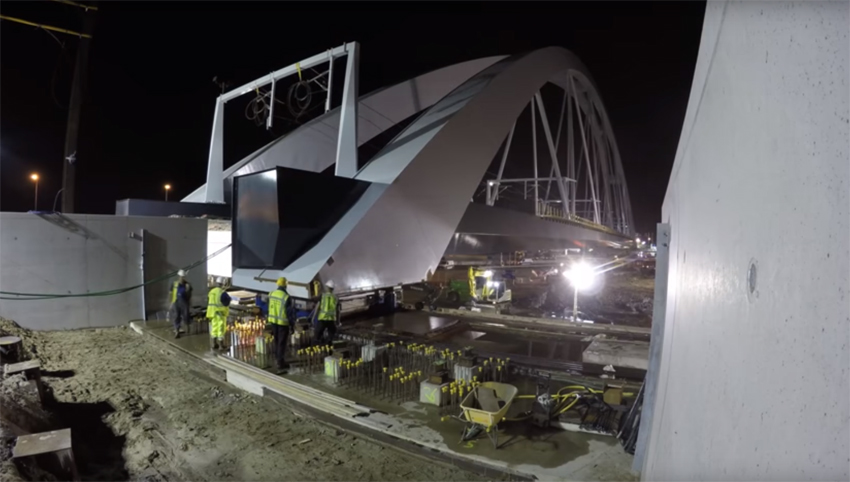Muiderberg bridge moves into final position image