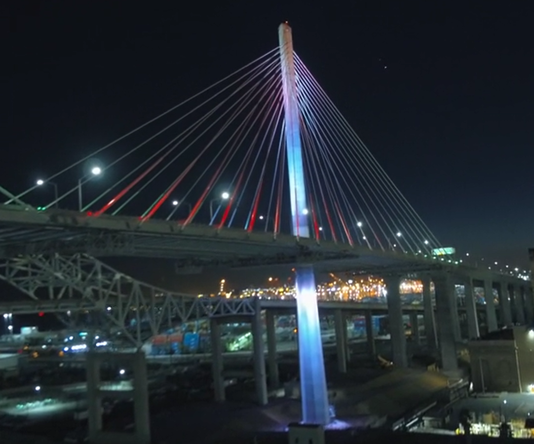 New Gerald Desmond Bridge lit up in time for festive season image