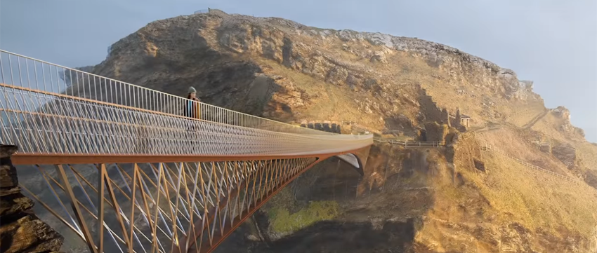Short video showing some of the construction features of Tintagel's new footbridge image