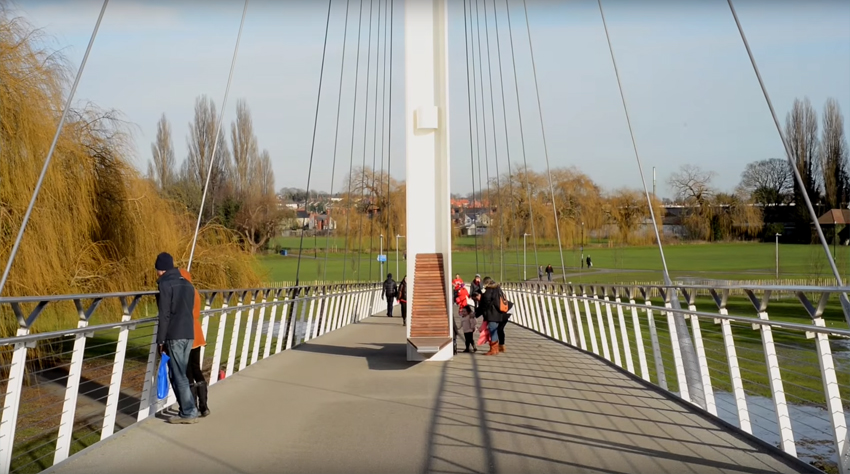 Thames pedestrian bridge in Reading, UK image