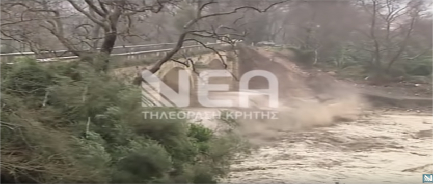 Watch historic arch bridge collapse under the force of floodwaters in Crete