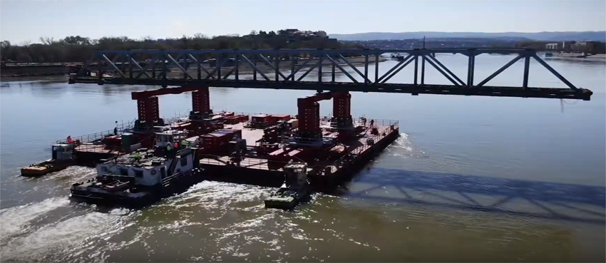 Watch the removal of a bridge over the Danube River in Novi Sad, Serbia
