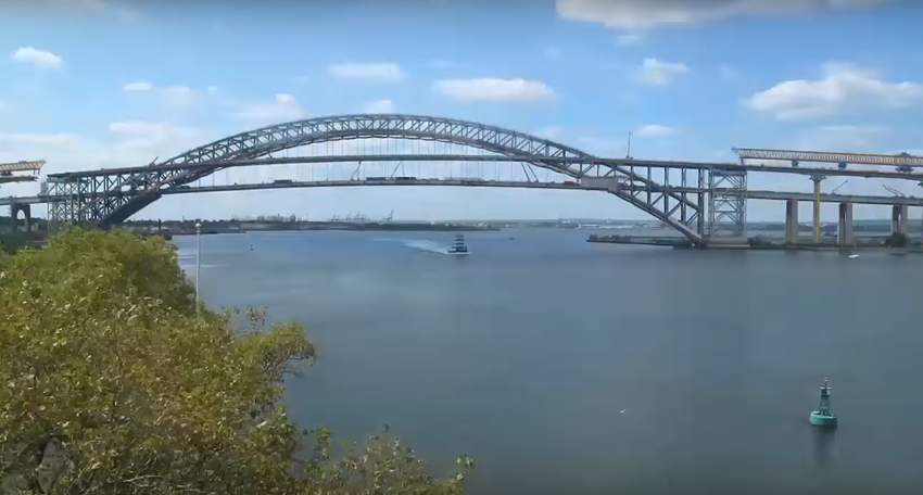 Time-lapse footage of New York's Bayonne Bridge construction logo