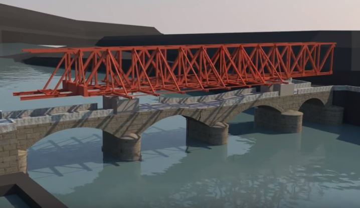 3D animation showing emergency repair work on bridge in Guipuzcoa Province, Spain logo