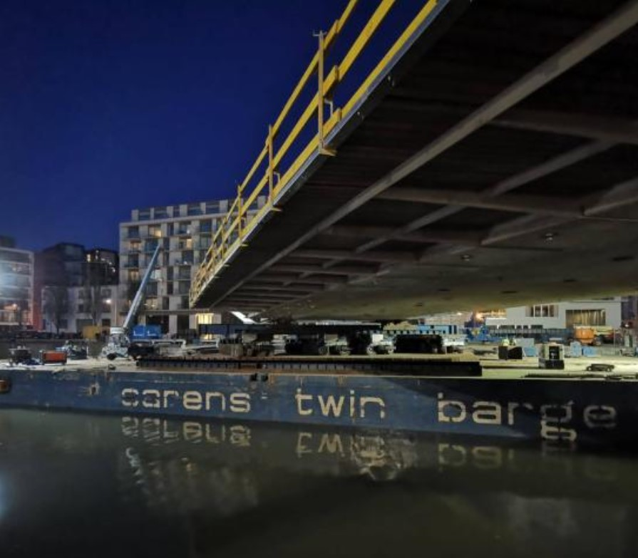 Main span floated into place for new Brussels bridge logo